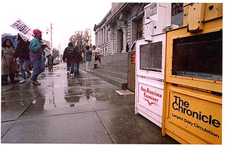 San Francisco newspaper strike of 1994 - Union members protest in front of San Francisco's City Hall on November 5, 1994