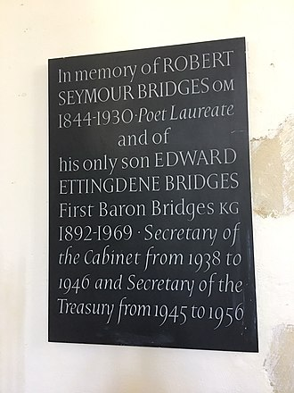 Robert Bridges - Memorial to Robert Bridges and Edward Bridges, 1st Baron Bridges, in St Nicholas-at-Wade, Kent