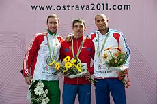 Men long jump podium Ostrava 2011.jpg
