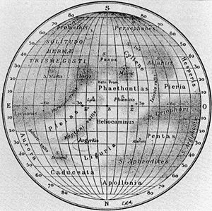 Debussy quadrangle - 1934 map showing the Cyllene albedo feature