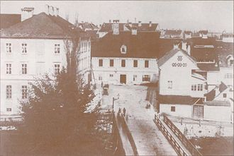 Dragon Bridge (Ljubljana) - The Butchers' Bridge and Ressel Square before 1882