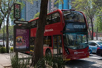 Double decker bus at Mexico City with capacity for 130 passengers. Metrobus at Paseo de la Reforma.jpg