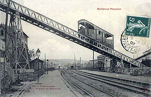 Bellevue funicular - The funicular and station around 1900. Today it is the Brimborion station on Paris Tramway Line 2