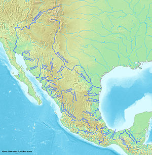 map showing major rivers in mexico