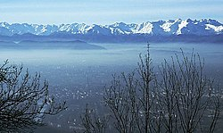 View over Turin and Alps.