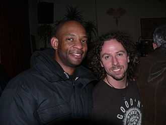 Michael Jerome - Michael Jerome (left) with bassist Joe Karnes of John Cale Band