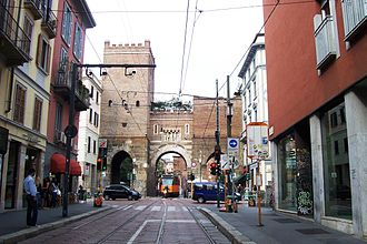 "Walls of Milan - ""Porta Ticinese"", one of the remaining gates from the medieval walls of Milan"