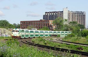 GO Train south of Queen Street West, travelling eastbound to Union Station.