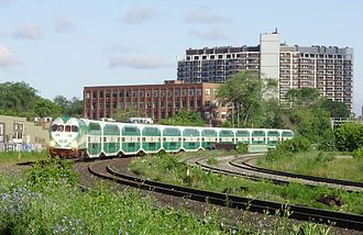 Milton line - GO Train south of Queen Street West, travelling eastbound to Union Station