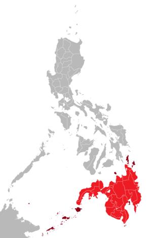 Mindanao - Mindanao mainland in red; its associated islands in maroon