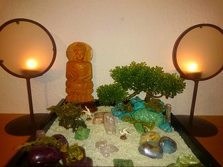 Miniature Rock Garden for Home with Buddha Statue, Bonsai Tree and Gemstones