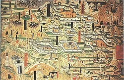Mogao Cave 61, painting of Mount Wutai monasteries.jpg