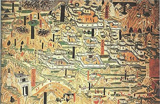 A 10th-century mural painting in the Mogao Caves at Dunhuang showing monastic architecture from Mount Wutai, Tang dynasty; Japanese architecture of this period was influenced by Tang Chinese architecture Mogao Cave 61, painting of Mount Wutai monasteries.jpg