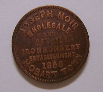 "Ironmongery - Obverse of a penny token of Joseph Moir, advertising ""wholesale and retail ironmongery,"" 1850."