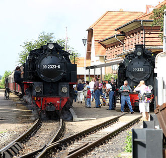 Molli railway - Two Molli locomotives in the terminus at Kühlungsborn West