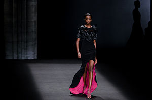 Maria Borges - Maria Borges walking the Monique Lhuillier Fall/Winter 2014 fashion show.