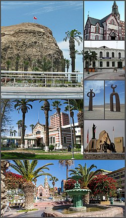 Clockwise, from top: Morro de Arica; Arica Cathedral; station of the Tacna-Arica railway; Casa de la Cultura de Arica; Presencias tutelares sculptures; Museum of History and Weapon; Plaza Colón