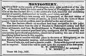 Montgomery, Texas - Advertisement for the sale of lots in the Town of Montgomery, Texas from the July 8, 1837 edition of the Telegraph and Texas Register newspaper published in Houston, Texas.