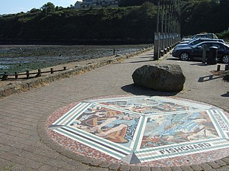 Fishguard Lifeboat Station - Image: Mosaic and footpath on the Parrog geograph.org.uk 1542259