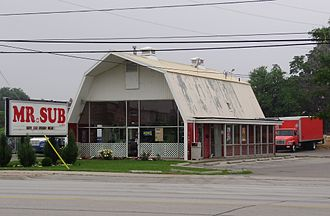 Mr. Sub - A Mr.Sub restaurant in Mississauga, Ontario operating inside a former Red Barn restaurant location.