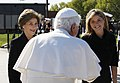Mrs. Laura Bush and Jenna Bush greet Pope Benedict XVI.jpg