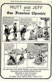 planche annonçant le comic strip de Mutt and Jeff