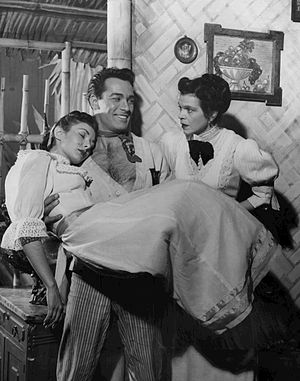 Dorothy Adams - Adams at right with Carl Betz and Dolores Mann in a scene from My Three Angels, 1954