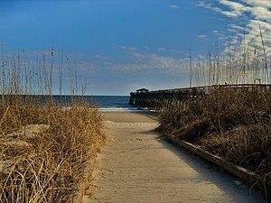 Myrtle Beach Boardwalk - Myrtle beach with a side view of the pier.