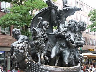 Ship of Fools (satire) - Sculpture based on the satire, located in Nuremberg, home of Albrecht Dürer.