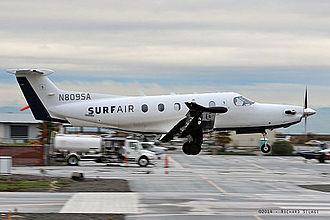 Surf Air - A Pilatus PC-12 of Surf Air at San Carlos Airport (December 2014)