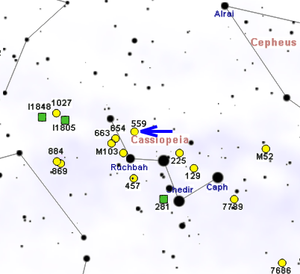 NGC 559 - Map showing the location of NGC 559