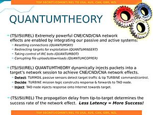 XKeyscore - NSA's QUANTUMTHEORY overview slide with various codenames for specific types of attack and integration with other NSA systems