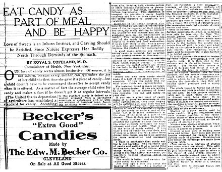 "On October 8, 1922, The Plain Dealer, published an article written by Royal S. Copeland telling Clevelanders to ""Eat Candy as a Part of Your Daily Meal and Enjoy the Best of Health."" NYC Health Commissioner's Candy Article 10-8-1922.jpg"