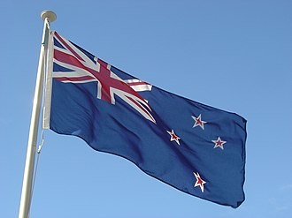 Flag of New Zealand - The flag of New Zealand outside the Beehive in Wellington