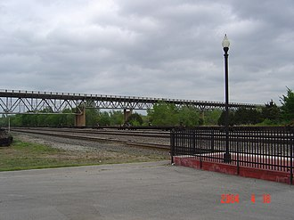 Purcell, Oklahoma - James C. Nance Memorial Bridge, viewed from Purcell train station