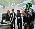 Narendra Modi being shown the demos of cutting-edge Google technologies, during his visit to Google (Alphabet) campus, in Silicon Valley, California on September 27, 2015. The CEO, Google, Mr. Sundar Pichai is also seen (1).jpg