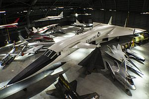 National Museum of the United States Air Force - An overhead view of the fourth building aircraft at the National Museum of the United States Air Force including the North American XB-70 Valkyrie