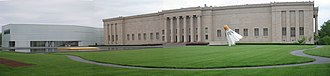 Nelson-Atkins Museum of Art - North façade of the original building (1930-33), with the Bloch Building (1999-2007), left.