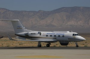 Grumman Gulfstream II - A highly modified GII used to flight test systems hardware for the Broad Area Maritime Surveillance (BAMS) UAV contract bid, seen here taxiing at Mojave