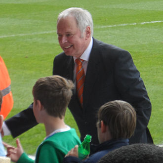 Luton Town F.C. - Nick Owen, former Luton chairman and current Vice President, talking to fans before a home game in 2014.