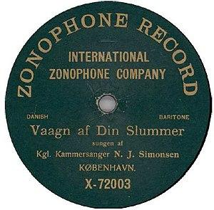 Niels Juel Simonsen - 1903 Zonophone recording of Simonsen in Vaagn af din Slummer