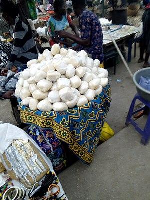 Fufu - Nigerian food fufu been sold on the street Lagos