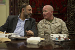 Nimroz provincial Gov. Mohammad Sarwar Subat, left, and U.S. Marine Corps Maj. Gen. Walter L. Miller Jr., the commanding general of Regional Command (Southwest), talk during a friendship dinner at the Afghan 130725-M-RF397-244.jpg