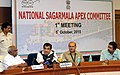 Nitin Gadkari addressing a press conference on the 1st National Sagarmala Apex Committee Meeting, in New Delhi on October 05, 2015. The Secretary, Ministry of Shipping, Shri Rajive Kumar is also seen.jpg