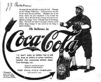Nixey Callahan - Coca-Cola ad from 1914 with Callahan