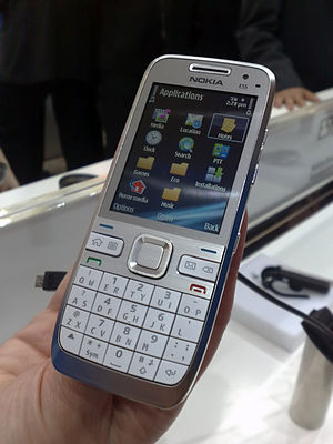 QWERTY - The Nokia E55 uses a half QWERTY keyboard layout.