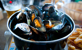 Blue mussel - Boiled blue mussels in Normandy, France