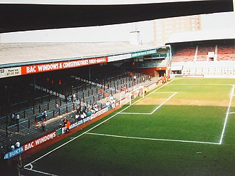 Boleyn Ground - The North Bank, 1991, before redevelopment.