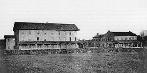 Clemuel Ricketts Mansion - The North Mountain House hotel in the early 1870s; a verandah connected the wooden Ark (left) and stone house (right).