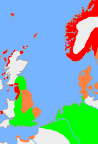 This is the approximate extent of Old Norse and related languages in the early 10th century around the North Sea. The red area is the distribution of the dialect Old West Norse, the orange area is the spread of the dialect Old East Norse and the green area is the extent of the other Germanic languages with which Old Norse still retained some mutual intelligibility